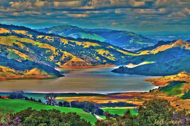 View of the Calaveras Reservoir from our farm